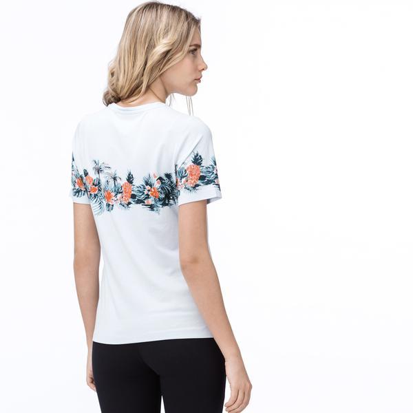 Lacoste Kadın Mavi Tropikal Baskılı Bisiklet Yaka T-Shirt