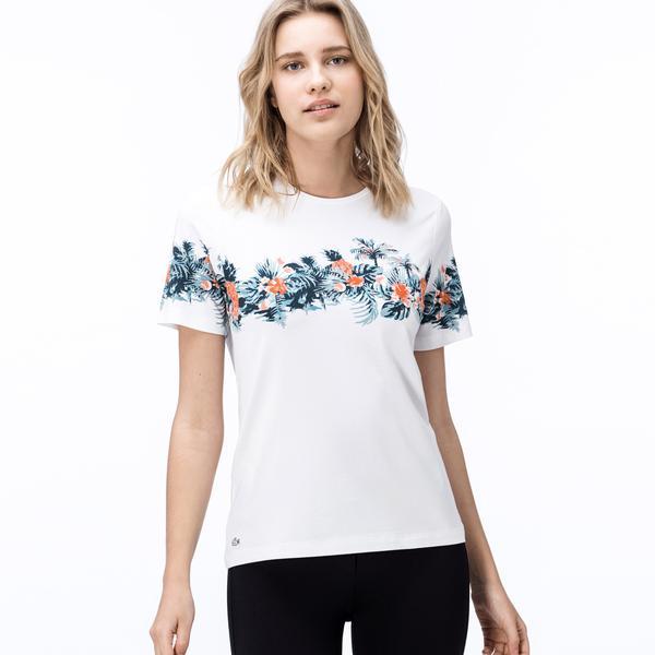 Lacoste Kadın Beyaz Tropikal Baskılı Bisiklet Yaka T-Shirt
