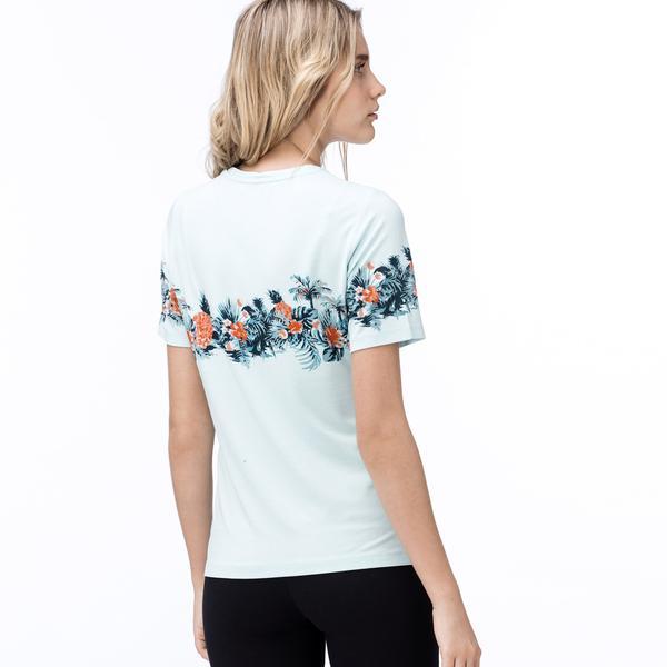 Lacoste Kadın Mint Yeşili Tropikal Baskılı Bisiklet Yaka T-Shirt