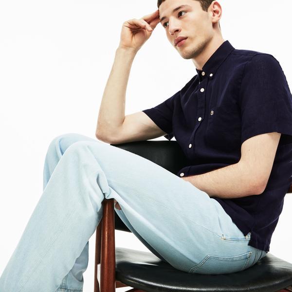 Lacoste Erkek Regular Fit Lacivert Kısa Kollu Gömlek