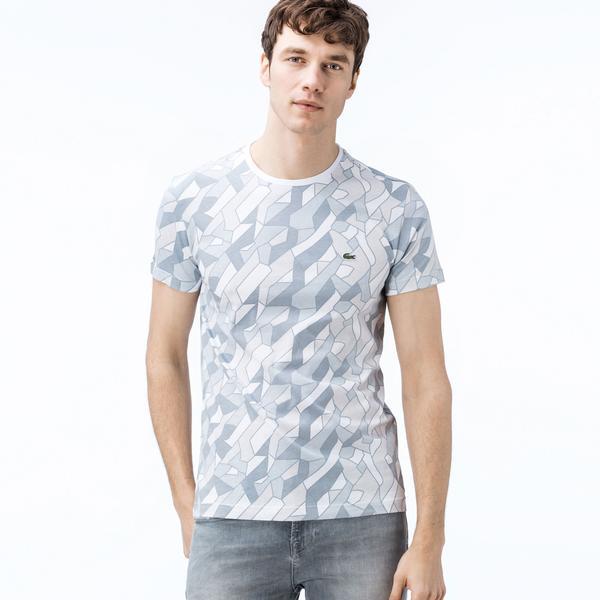 Lacoste Erkek Desenli Bisiklet Yaka Beyaz T-Shirt