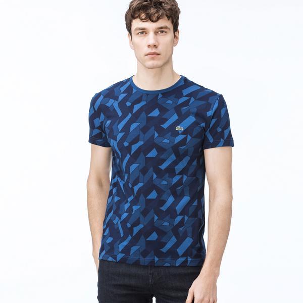 Lacoste Erkek Desenli Bisiklet Yaka Lacivert T-Shirt
