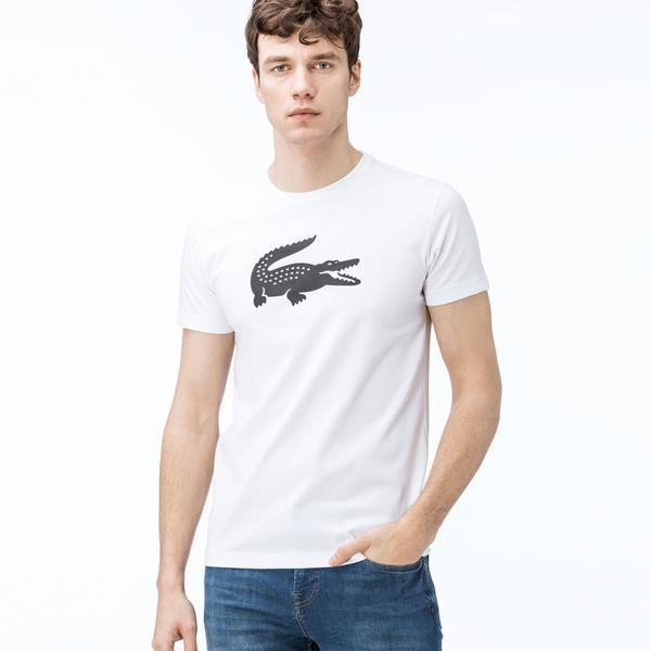 Lacoste Erkek Timsah Baskılı Bisiklet Yaka Beyaz T-Shirt