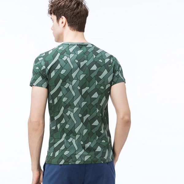Lacoste Erkek Desenli Bisiklet Yaka Yeşil T-Shirt