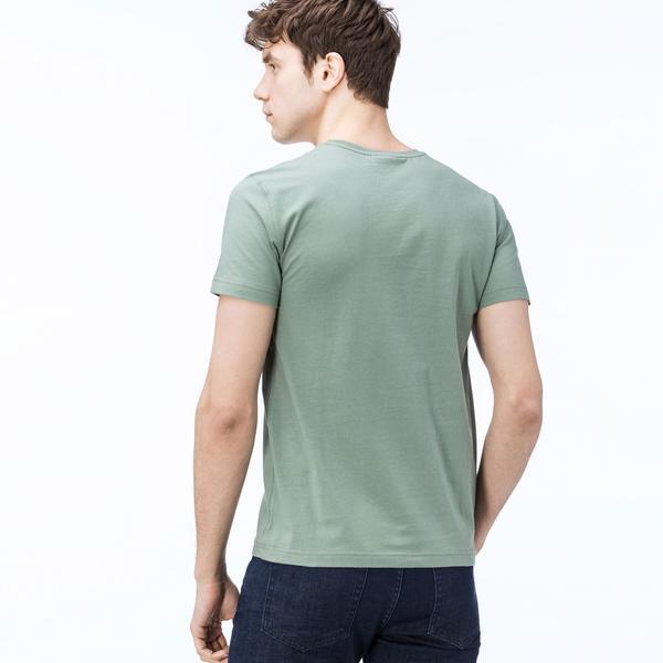 Lacoste Erkek Regular Fit Lacoste Baskılı Bisiklet Yaka Yeşil T-Shirt