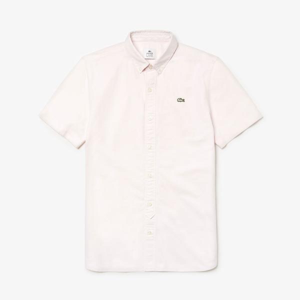Lacoste Erkek Skinny Fit Beyaz Kısa Kollu Gömlek