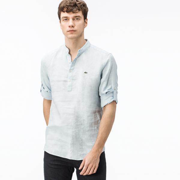 Lacoste Erkek Keten Regular Fit Mavi Uzun Kollu Gömlek