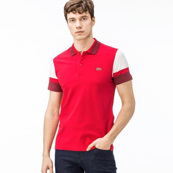 Lacoste Erkek Slim Fit Kırmızı - Bordo - Beyaz Renk Bloklu Polo