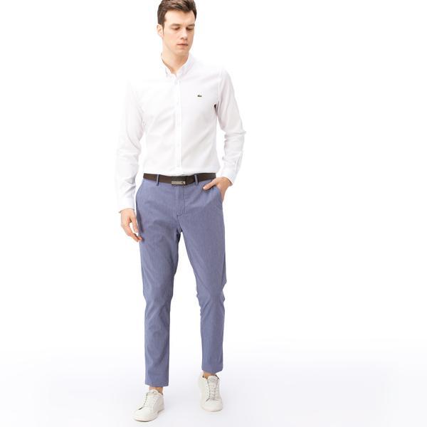 Lacoste Erkek Slim Fit Mavi Gofre Pantolon