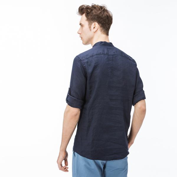Lacoste Erkek Keten Regular Fit Lacivert Uzun Kollu Gömlek