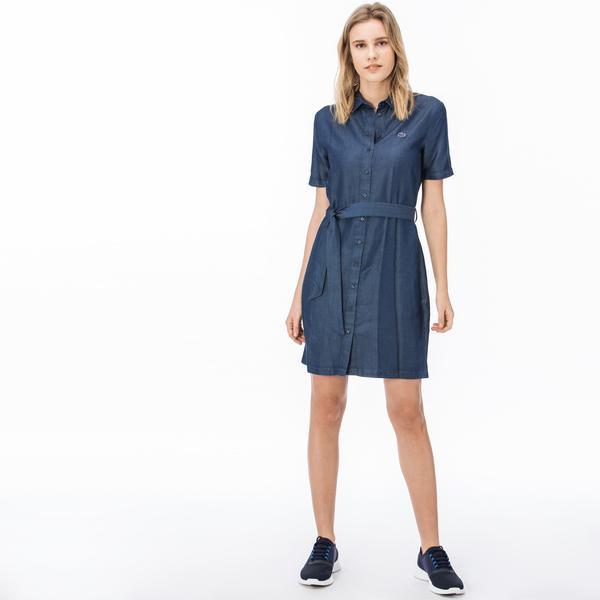 Lacoste Kadın Lacivert Gömlek Elbise