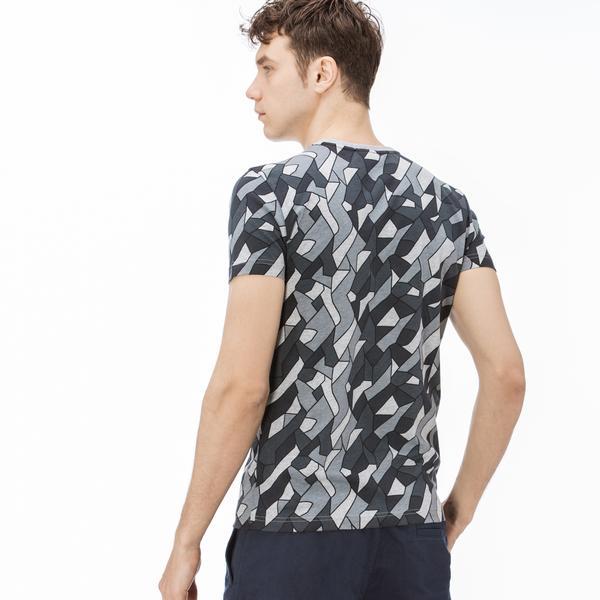 Lacoste Erkek Desenli Bisiklet Yaka Siyah T-Shirt