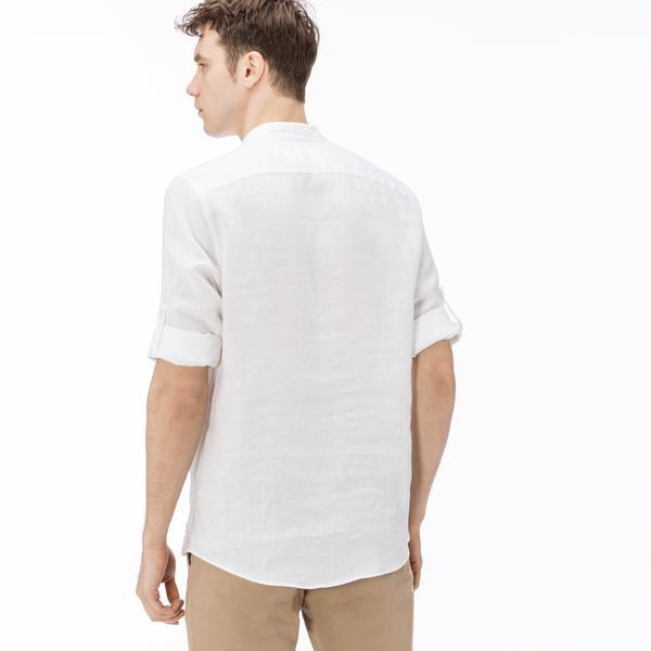 Lacoste Erkek Keten Regular Fit Beyaz Uzun Kollu Gömlek