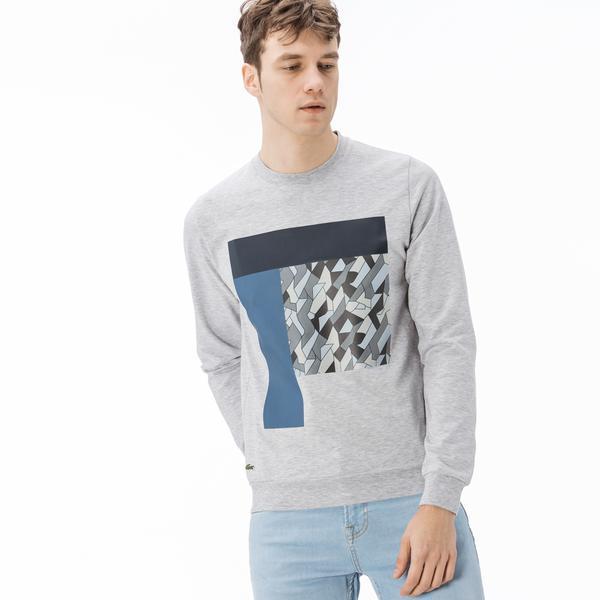 Lacoste Erkek Desen Baskılı Gri Sweatshirt