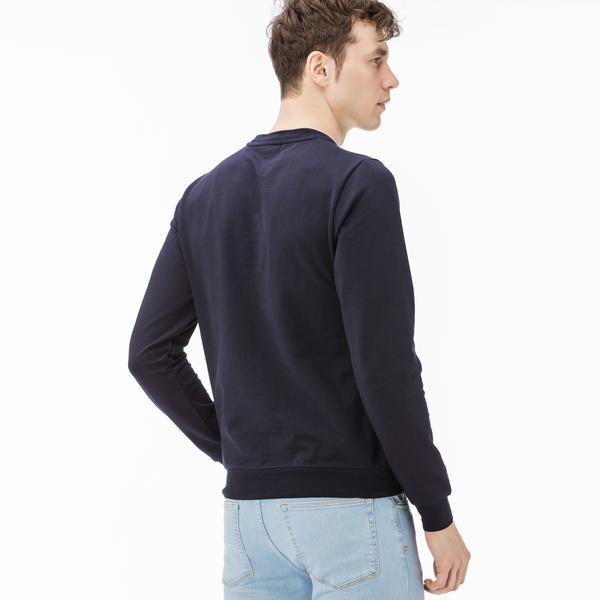 Lacoste Erkek Desen Baskılı Lacivert Sweatshirt