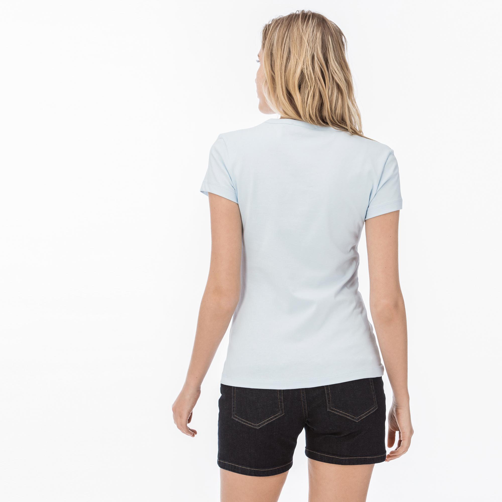 Lacoste Kadın Lacoste Baskılı Bisiklet Yaka Mavi T-Shirt