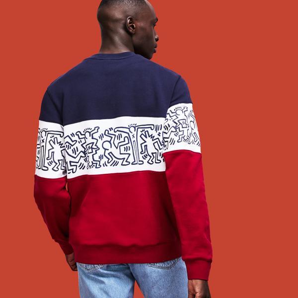 Lacoste X Keith Haring Erkek Blok Desenli Renkli Sweatshirt