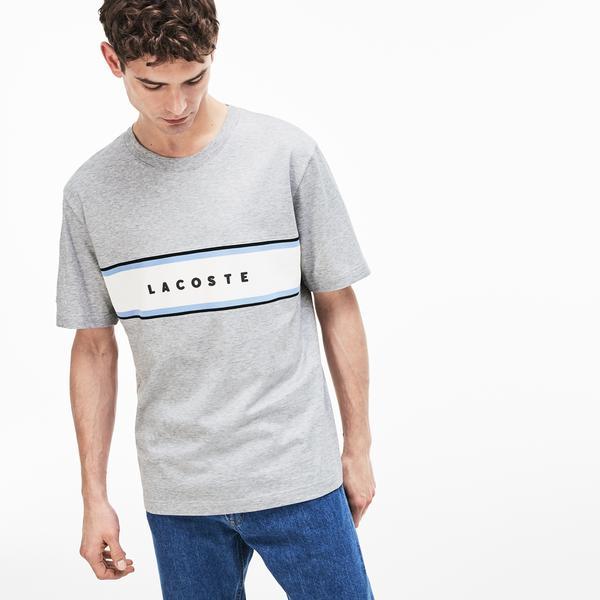 Lacoste Erkek Lacoste Baskılı Relax Fit Gri T-Shirt
