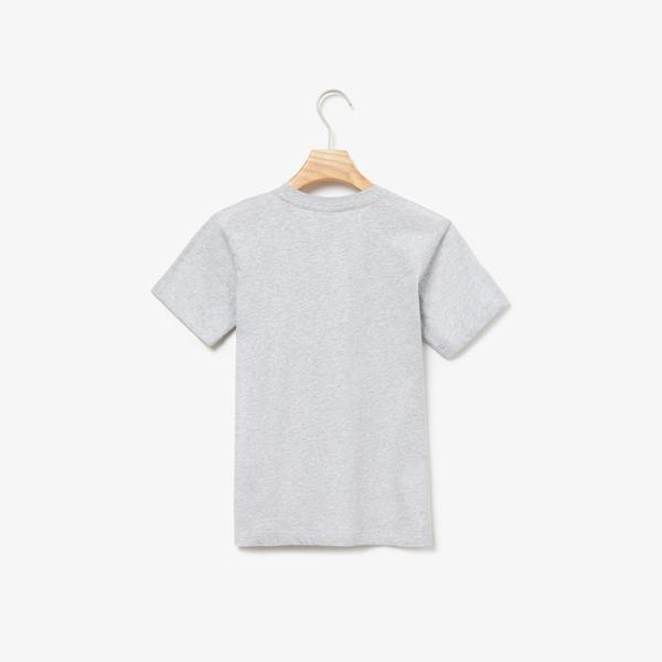 Lacoste Çocuk Timsah Baskılı Gri T-Shirt