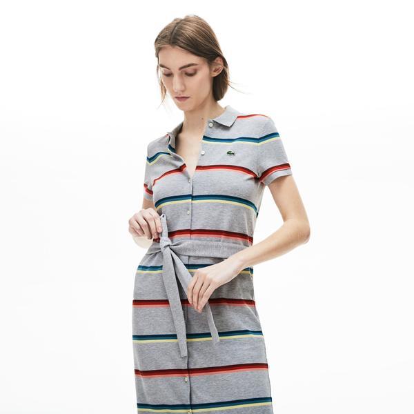Lacoste Kadın Çizgili Polo Yaka Renkli Elbise
