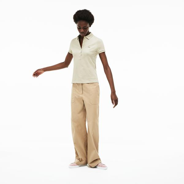 Lacoste Kadın Slim Fit Bej Polo