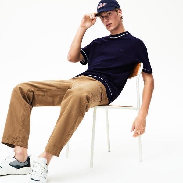 Lacoste Erkek Relax Fit Beyaz - Lacivert T-Shirt