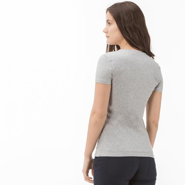 Lacoste Kadın Slim Fit V Yaka Gri T-Shirt
