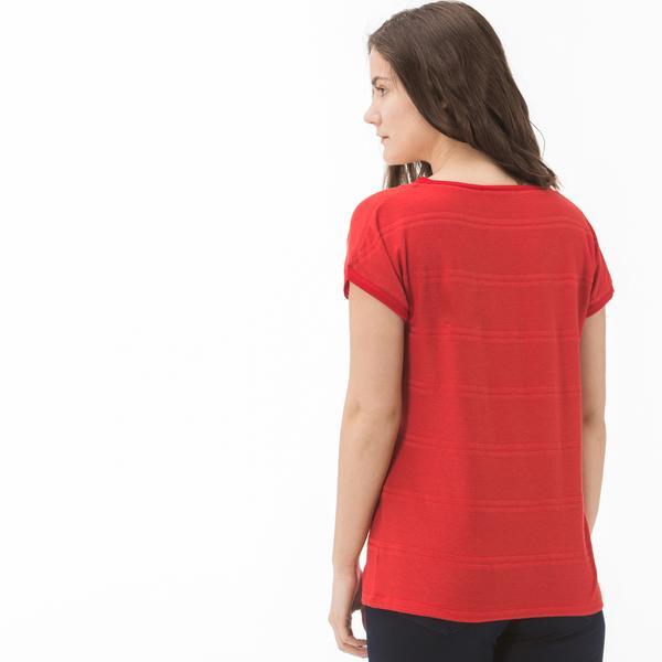 Lacoste Kadın Çizgili V Yaka Kırmızı T-Shirt