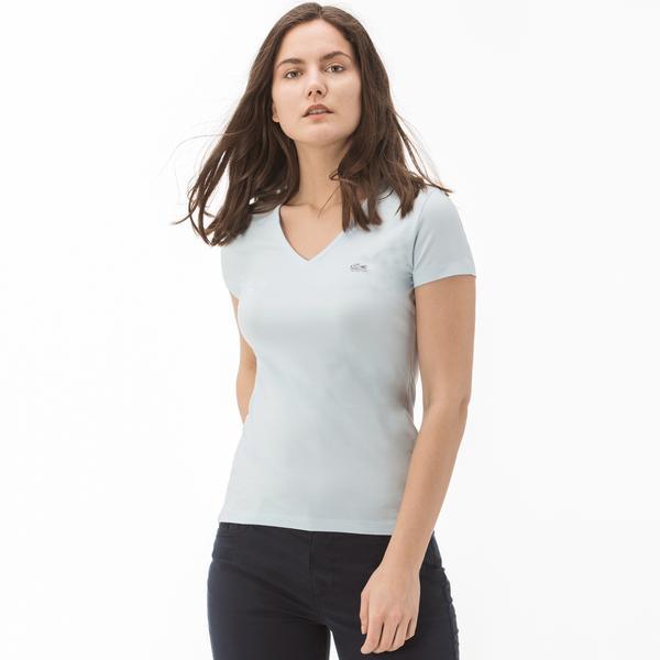 Lacoste Kadın Slim Fit Mavi T-Shirt
