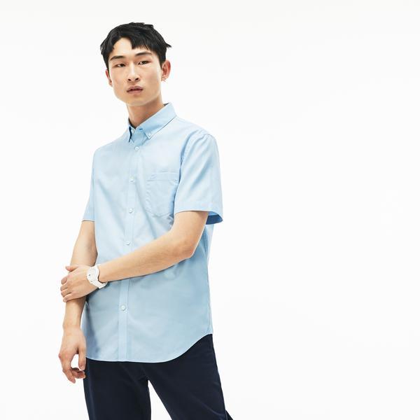 Lacoste Erkek Klasik Fit Mavi Kısa Kollu Gömlek
